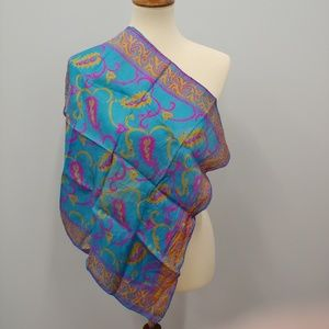 VINTAGE Indian Pure Silk Square Scarf